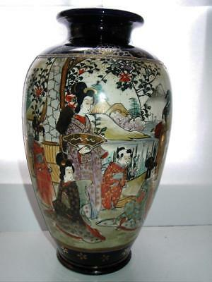 Large Japanese Satsuma vase ladies and children in a garden blue ground 1920s