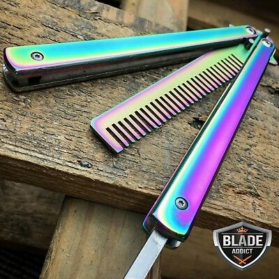 Butterfly Balisong Trainer Training COMB Knife Tool RAINBOW Metal Practice NEW x