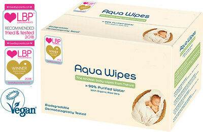 Aqua Wipes Biodegradable 99% Water Wipes Vegan Approved NHS Baby Wipes x64 Wipes
