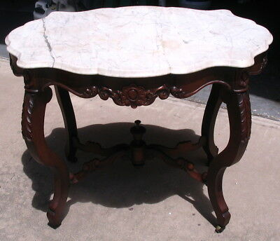 Fancy Antique French Victorian Scalloped Oval Lamp Table & Turtle Marble Top