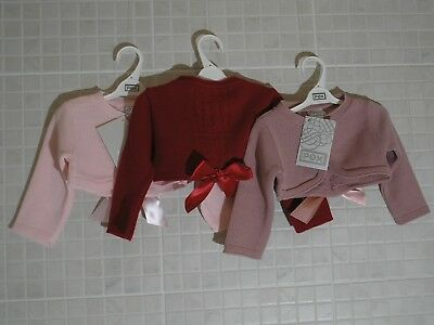 PEX Baby Girls Spanish style Bolero cardigan pink, Red Bow 0-3 - 12-18 months