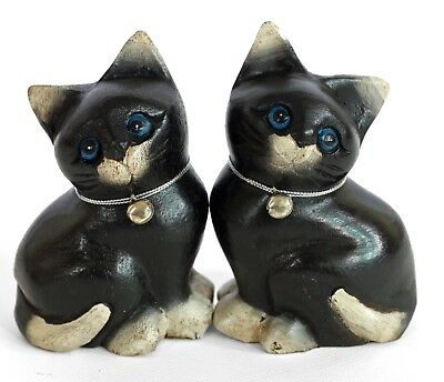 """Pair of wooden Cat Ornament  5"""" Fat Cats Handmade Wood Carving Black & White"""