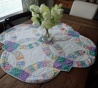 Vintage Cottage Green & Purple Wedding Ring Table Crib Quilt 33x33