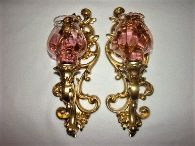 Vintage Homco Home Interior Pair Of Wall Sconces With Pink Celeste Votive Cups
