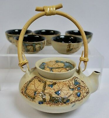 Malaysian Hand Crafted Tenmoku Pottery Tea Pot with 5 Cups