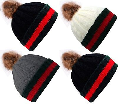Designer Celebrity Brand New Style Fur Woolly Knit Luxury Cap Bobble Beanie Hat