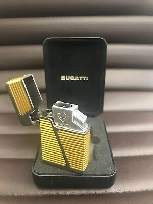 Bugatti BL6 BL640 Pinpoint Double Jet Torch Cigar Lighter with Punch - Gold- NIB