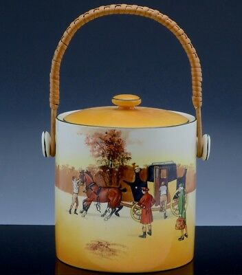 VERY RARE ROYAL DOULTON COACHING DAYS BISCUIT BARREL COOKIE JAR w WICKER HANDLE