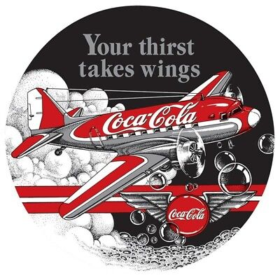 """Vintage Metal Sign """"Your Thirst Takes Wings"""" 14"""" X 14"""" Gift For Pilots or Hangar"""