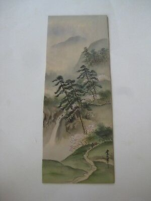 Fine Old Antique Japanese Landscape Painting on Silk w/Trees Artist Signed!