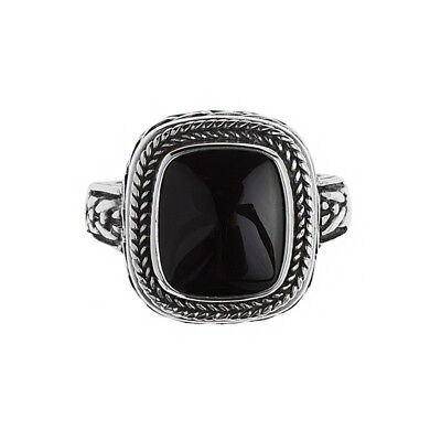 Savati ~ Sterling Silver Byzantine Men's Ring with Black Onyx