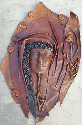 Artisan Leather Moulded Art Deco Style Wall Mask Sculpture Wall Art 1 25 00 Picclick Uk