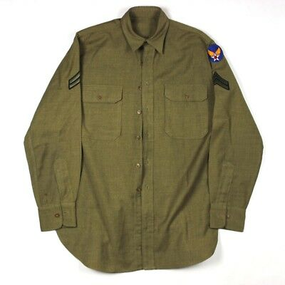 Us Army Air Forces Usaaf Aac Enlisted Men Em Od Wool Flannel Field Shirt