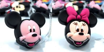 2 3D Mickey Mouse Minnie heads jibbitz crocs shoe charms loom band cake toppers
