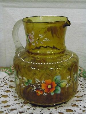 Vintage/Antique HOBBS Glass Pitcher ( Hand Painted )