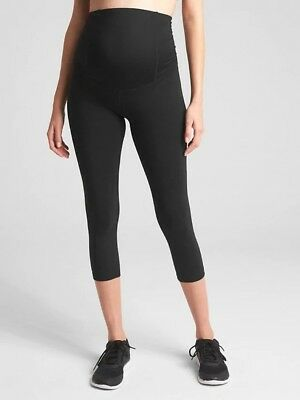 NWT L Jet Black Maternity Ingrid & Isabell Active Capri Pant W Crossover Panel