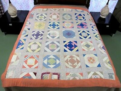FULL Vintage Antique Shirting Cotton & Feed Sack SHADOW BOXES Quilt: Needs TLC !