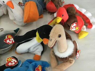 Lot Of 14 TY Beanie Babies Originals Birds Turkey Ostrich Duck Swan  More 1990's