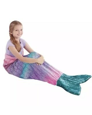 Mermaid Tail Plush & Playful Polyester Reversible Sequins Turquoise Silver NEW