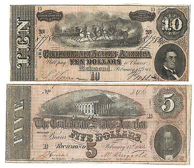 Csa Confederate Note Currency Circulated 1864 Very Nice Lot $5 $10 Bright Crisp