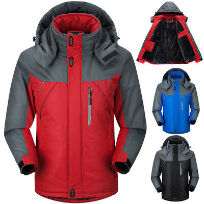 Winter Men's Fleece Jacket Waterproof Outdoor Hiking Thicken Ski Sport Coat Warm