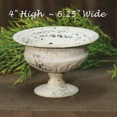 """Chippy Urn Planter Metal French Country CREAM Shabby Chic Garden Cottage 4"""" Tall"""