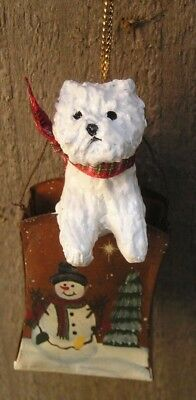 West Highland White Terrier -WESTIE- metal SNOWMAN BUCKET Ornament!