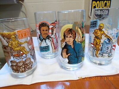 Lot of 4 Vintage STAR WARS Collectible Drinking GLASSES Burger King/ COCA COLA