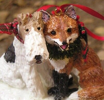 Wire Fox Terrier with a FOX Ornament!