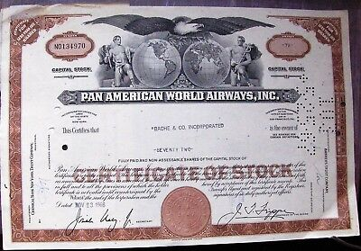 Stock certificate Pan American World Airways with 6 transfers attached 1966