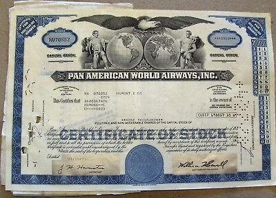 Stock certificate Pan American World Airways with 5 papers attached 1973