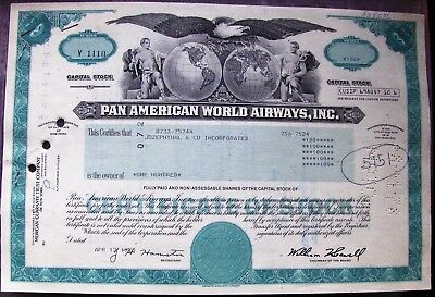 3 stock certificates Pan American World Airways attached to each other, radar #