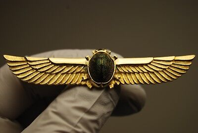 Vintage Winged Scarab Beetle Brooch Pin Egyptian Revival Sphinx Mummy Pharaoh