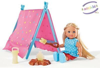 Evi Camping Steffi sister (like Barbie) Glow in the dark, doll tent + fire camp