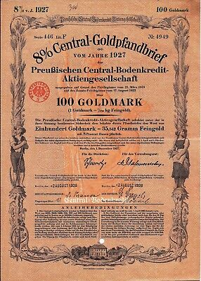 5 different German 8% Central Gold Mortgages. Gold Marks bond dated 12/1927