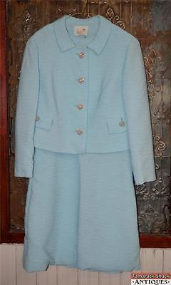 VTG 50s Womens Sleeveless Sky Blue A-Line Dress Matching Coat Jackie Kennedy