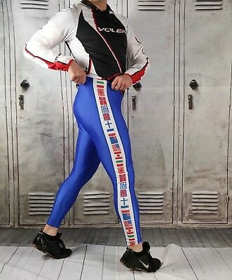 VTG Running TIGHTS World Flags LINED SPANDEX Pants Made in USA By Sportco Sz L