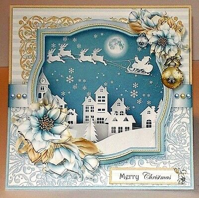 Handmade Greeting Card 3D Christmas With A Town Scene with Santa W/Sentiment