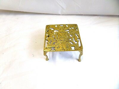 Antique English Victorian Brass Trivet Kettle Stand