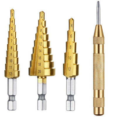 3x HSS Step Cone Drill Ti Coated Bit Hole Cutter 3-12mm Auto Center Punch 3-20mm