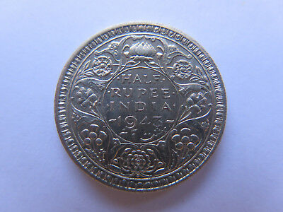 1943 INDIA SILVER 1/2 RUPEE in EXCELLENT COLLECTABLE CONDITION KING GEORGE VI