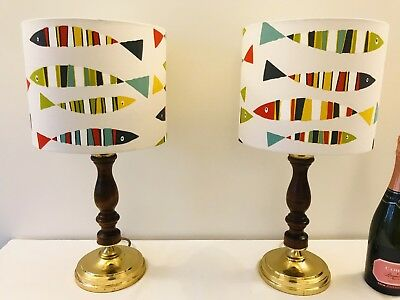 Pair Vintage Antique French Style Wood Brass Table Lamps & Breton Anchovy Shades