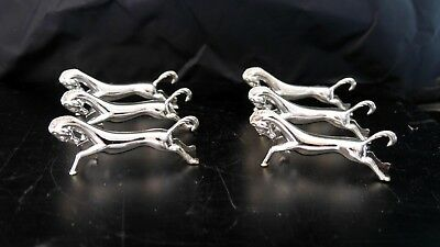6 French Horse Silver Plate Horse Knife Rests