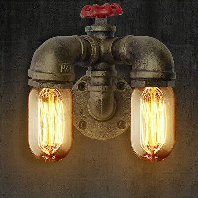 Vintage Industrial Retro Dual Water Pipe Shape Wall Lamp Sconce Light Fixture !