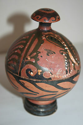 ANCIENT GREEK POTTERY RED FIGURE SHERE PYXIS 4th CENTURY BC