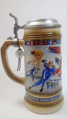 Gerz Anheuser Busch 1988 Calgary Olympic Winter Games Beer Stein Pewter Lid