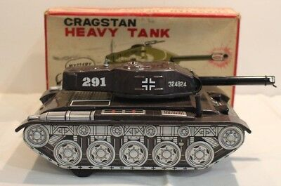 Vintage Cragstan Heavy Tank with original Box Made in Japan Tin Toy