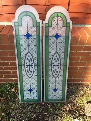 Pair Of Reclaimed Stained Glass Door Panels