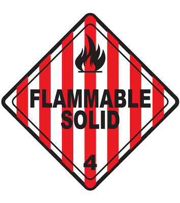 45-200mm Hazard Warning Stickers Flammable Solid Sign Safety COSHH HACCP Hazchem