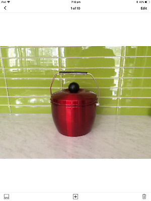 RETRO MID CENTURY. Red Anodised aluminium ICE BUCKET- NOVA Australia